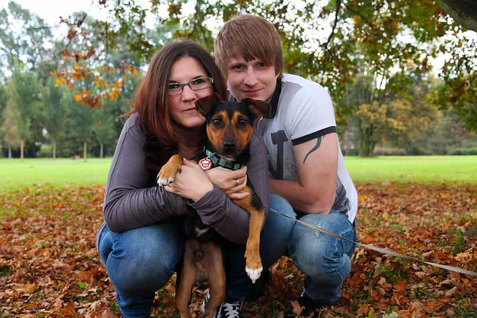 couple love with pets